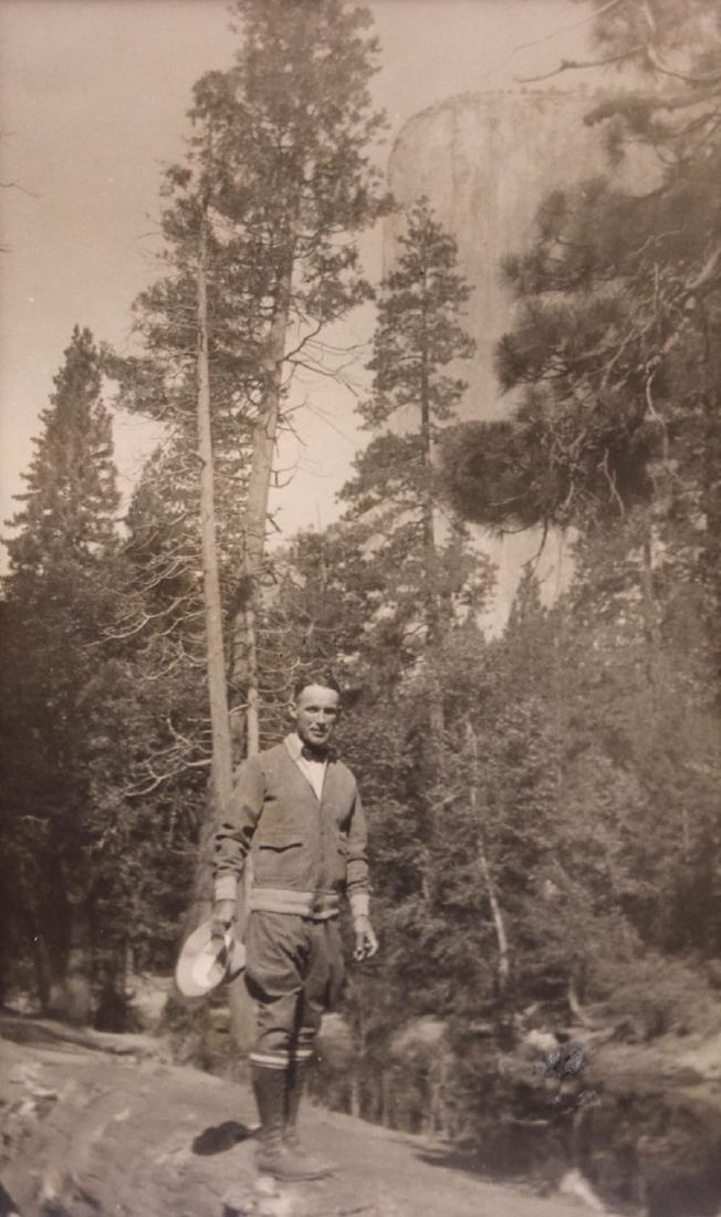 Antique Yosemite Photo of Man Hiking Below El Capitan