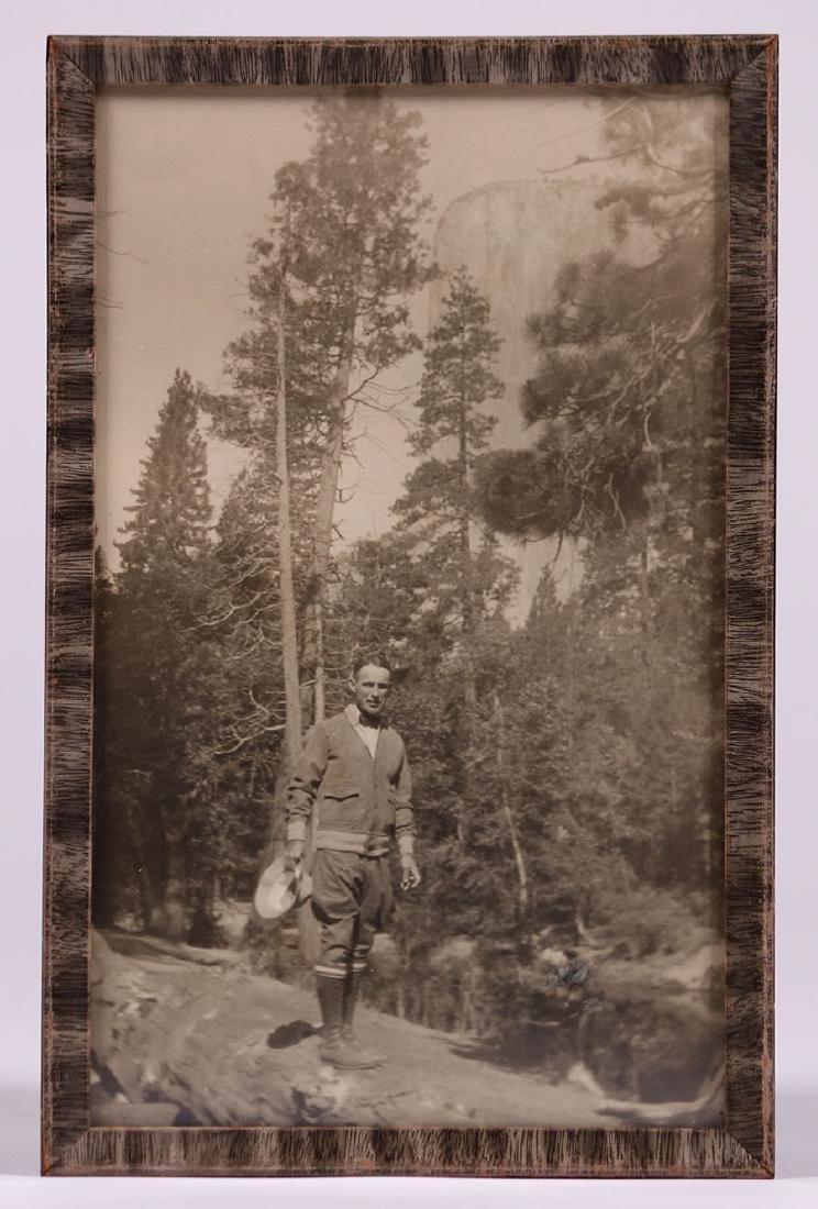 Antique Yosemite Photo of Man Hiking Below El Capitan - 2
