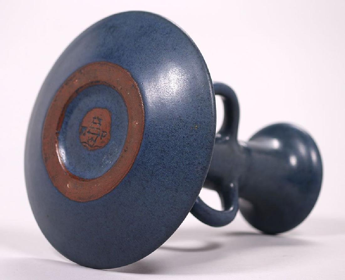 Marblehead Pottery Matte Blue Three-handle Candlestick - 3
