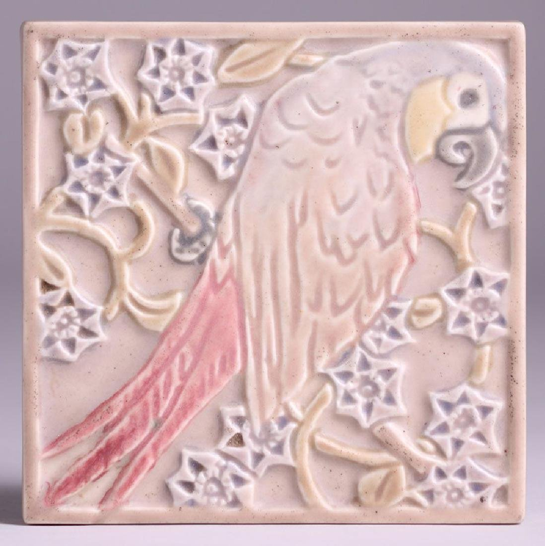 Rookwood Trivet Tile #3077 with Pink Parrot, Dated 1921