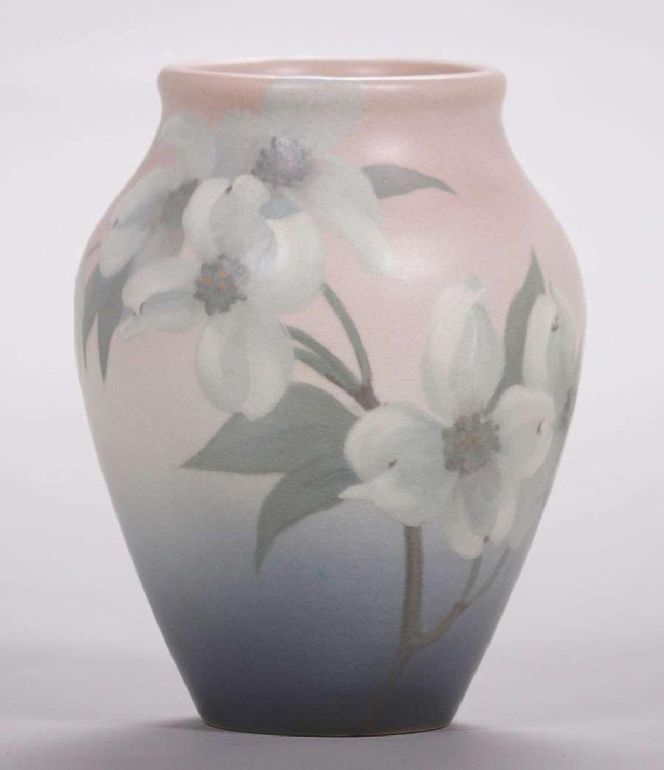 Rookwood Floral Vellum Vase by Sara Sax, dated 1904