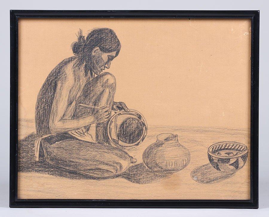 Maynard Dixon Style Pencil Drawing of Native American