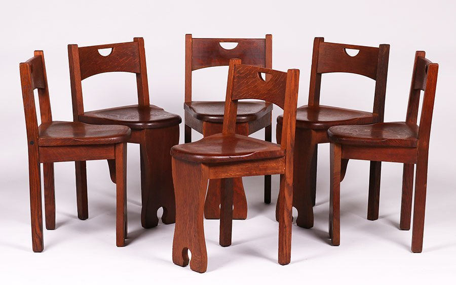 Set of 6 Stickley Brothers Game Chairs #324 1/2