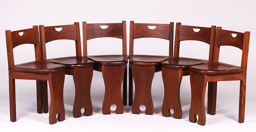 Set of 6 Stickley Brothers Game Chairs #324 1/2 - 3