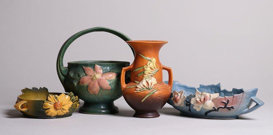 Lot of 4 Roseville Vases