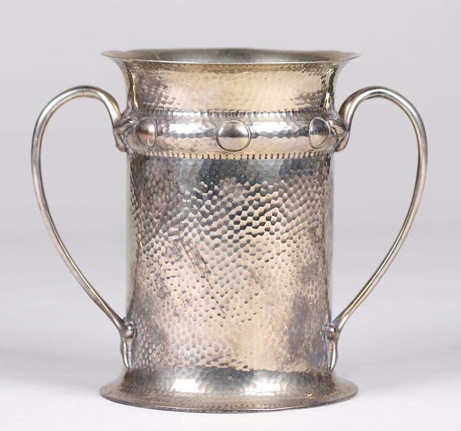 Arts & Crafts 2-Handled Silver Plated Vase c1910