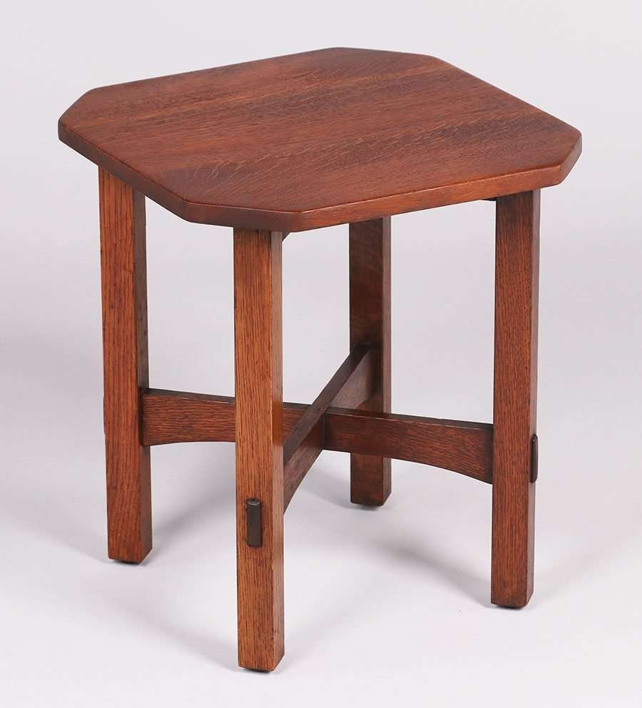 L&JG Stickley Square Clip-Corner Taboret c1917