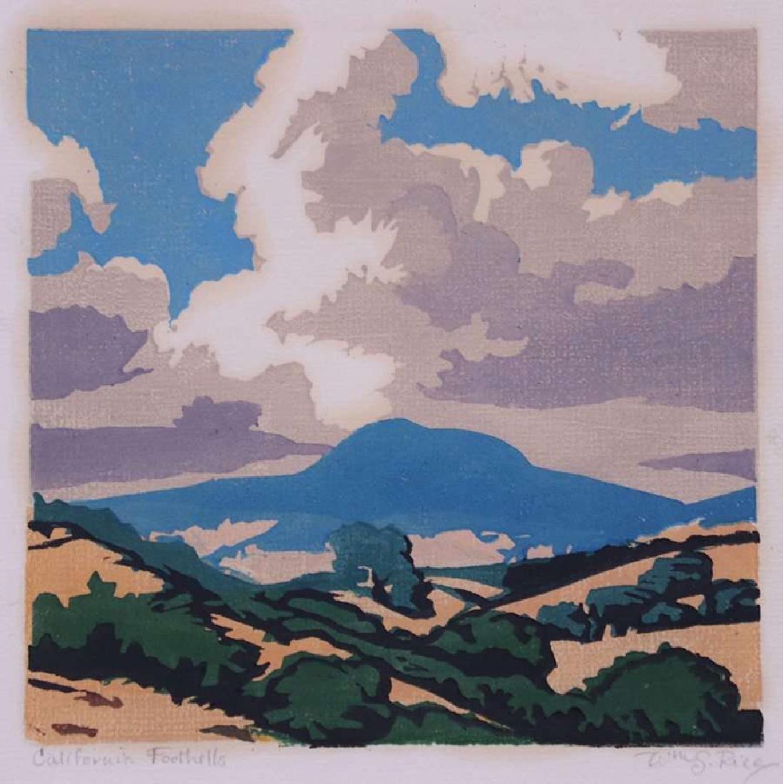 William Rice (1873-1963) Woodblock - Mt Tamalpais c1920