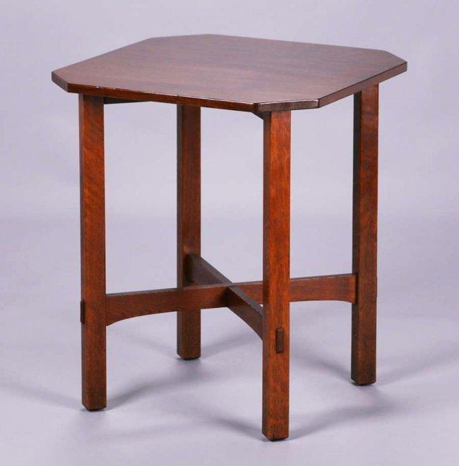 "L&JG Stickley 24"" Square Clip-Corner Lamp Table c1910"