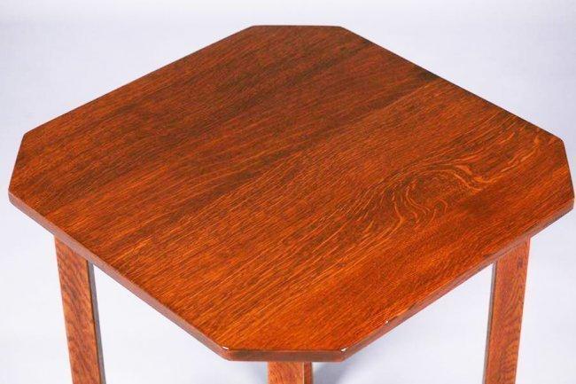 "L&JG Stickley 24"" Square Clip-Corner Lamp Table c1910 - 2"