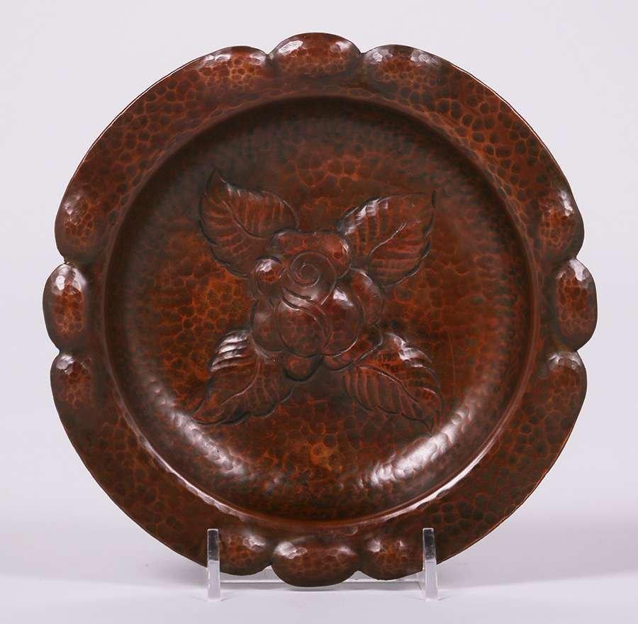 Arts & Crafts Hammered Copper Round Tray c1910
