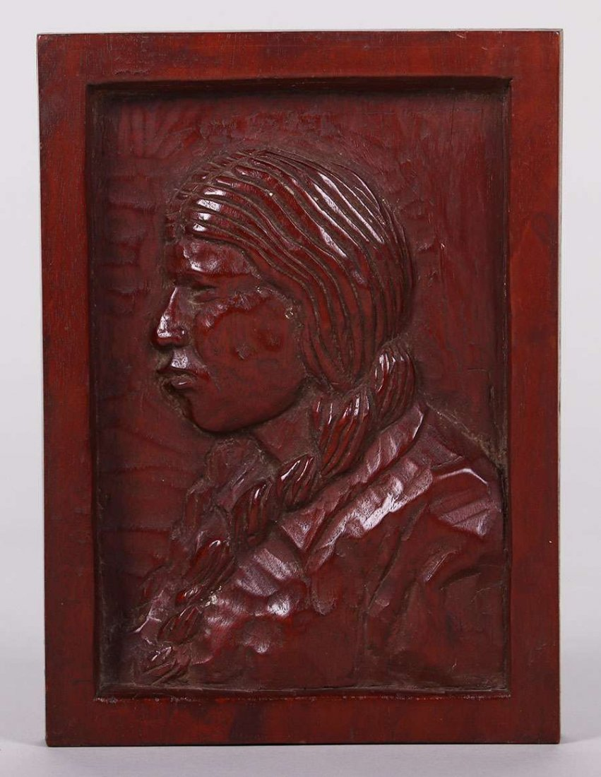 WPA Era Hand-Carved Native American Figural Relief 1930