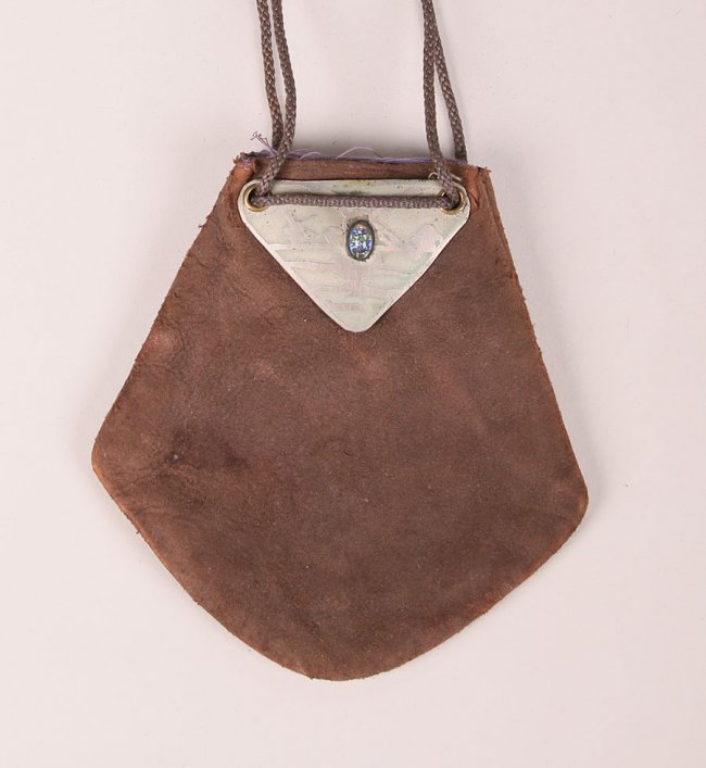 Small Forest Craft Guild Copper & Leather Purse c1910