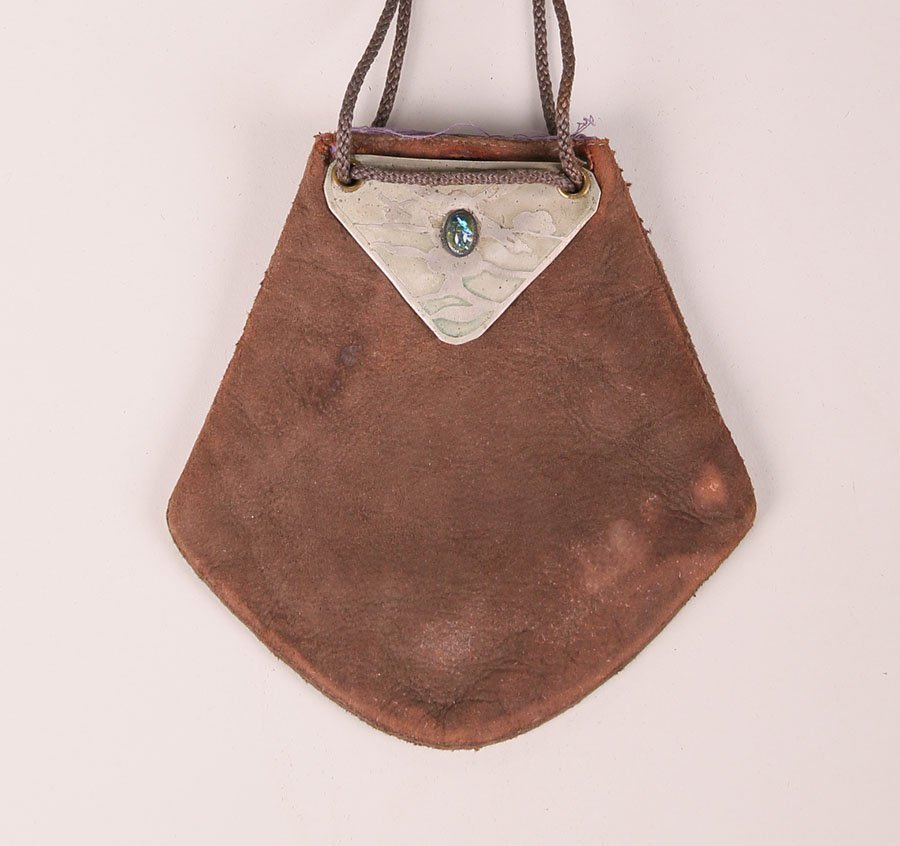 Small Forest Craft Guild Copper & Leather Purse c1910 - 2