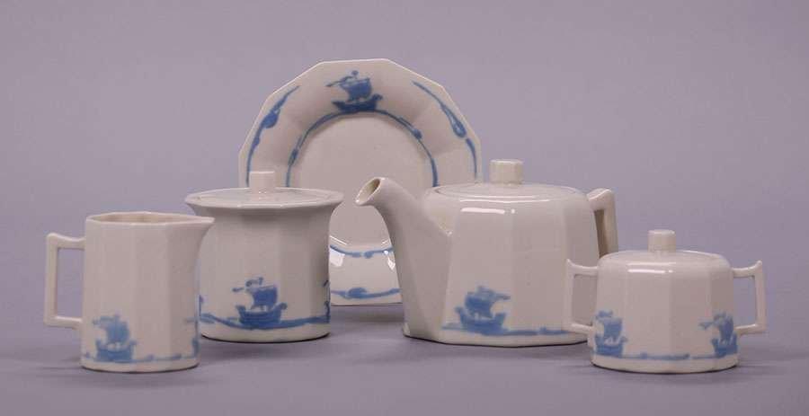 Rookwood Blue Galleon Tea Set
