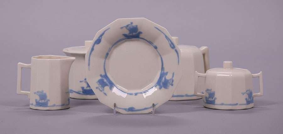 Rookwood Blue Galleon Tea Set - 3
