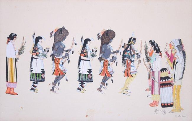Tonita Pena Gouache Buffalo Dance
