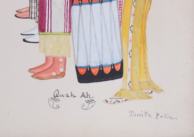 Tonita Pena Gouache Buffalo Dance - 3