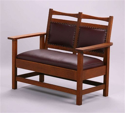 Enjoyable Stickley Brothers Small Bench Settle C1910 Beatyapartments Chair Design Images Beatyapartmentscom
