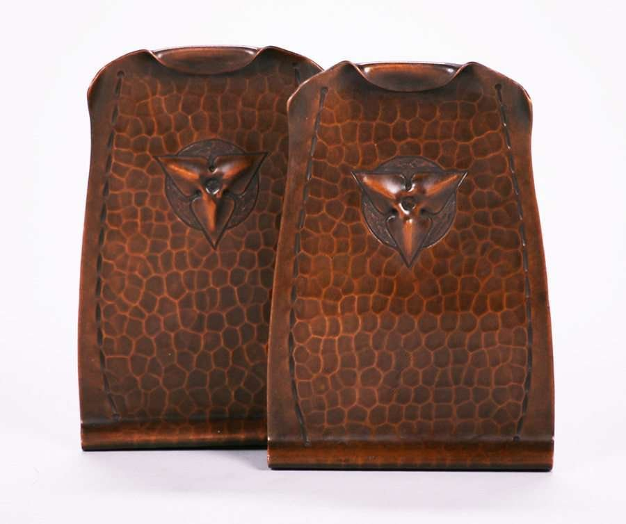 Pair Roycroft Hammered Copper Trifoil Bookends