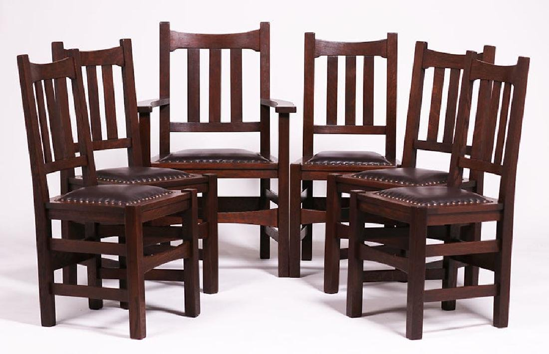 Set of 6 Stickley Brothers #379 1/2 Dining Chairs c1910