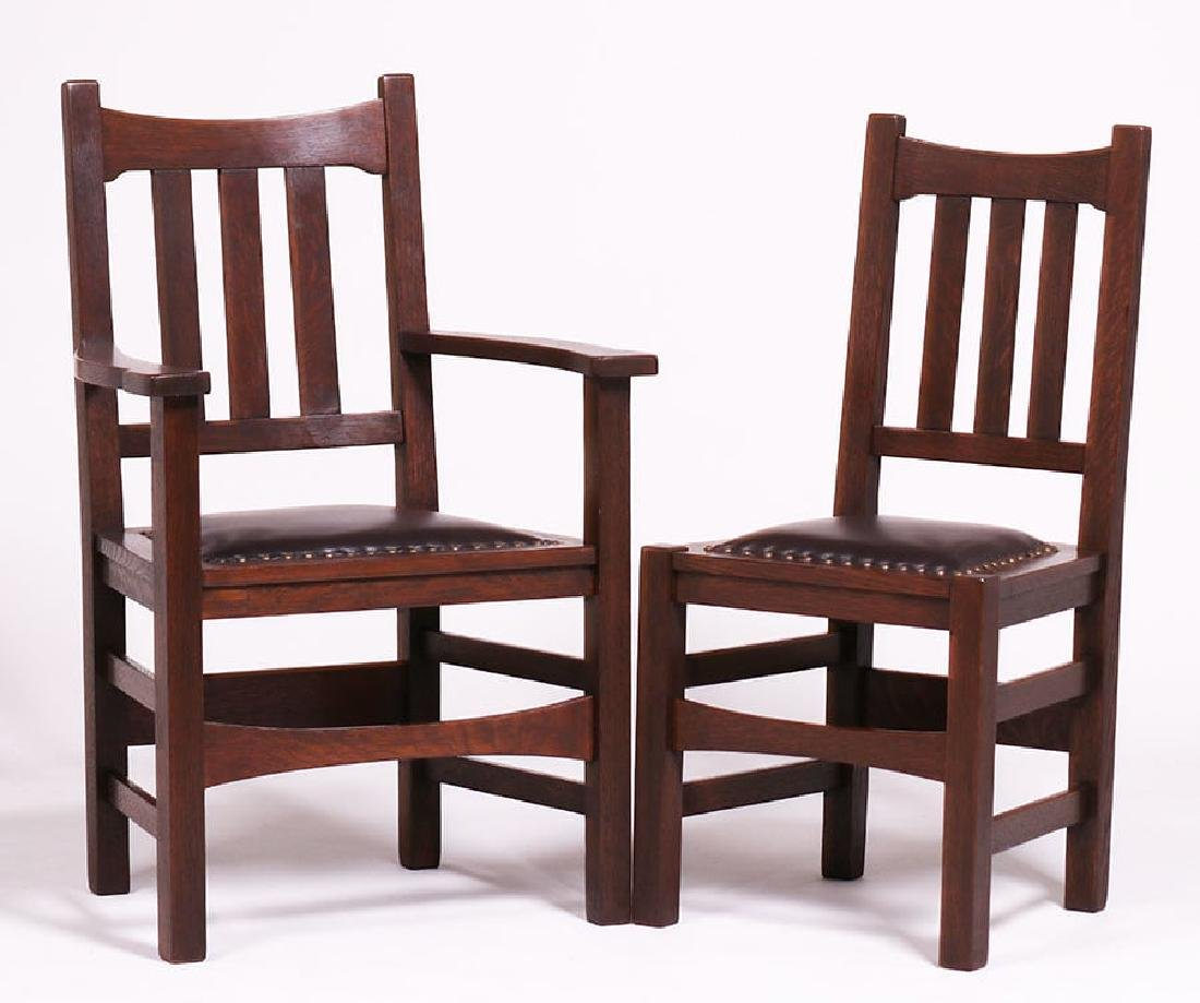 Set of 6 Stickley Brothers #379 1/2 Dining Chairs c1910 - 2