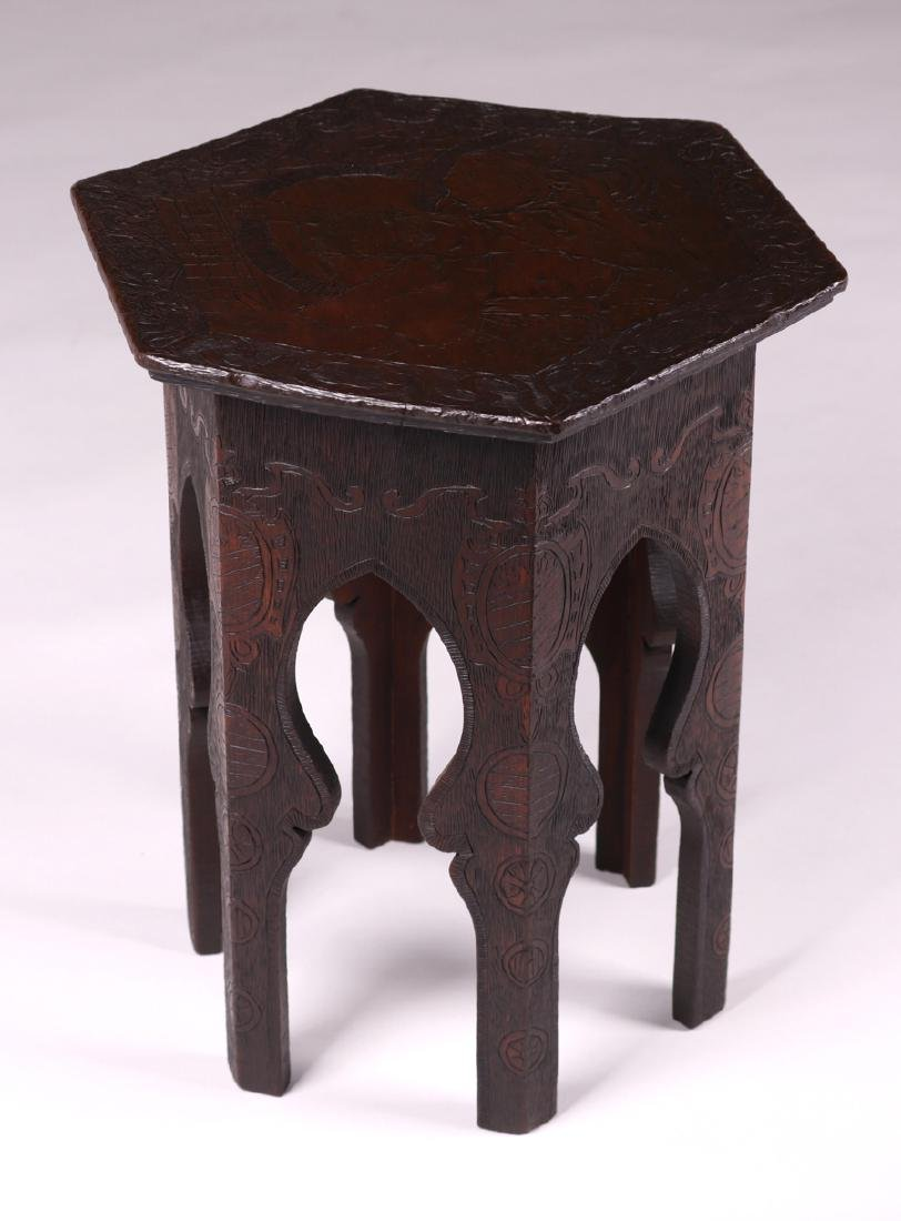 Arts & Crafts Pyrography Taboret c1905