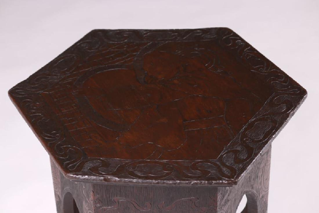 Arts & Crafts Pyrography Taboret c1905 - 2