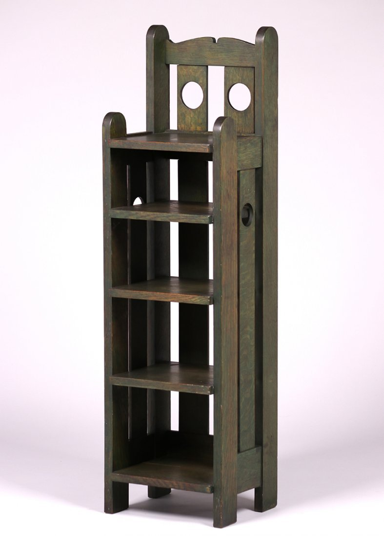 Stickley Brothers Circle Cutout Green Magazine Stand