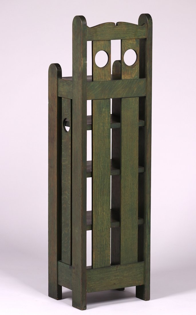 Stickley Brothers Circle Cutout Green Magazine Stand - 3
