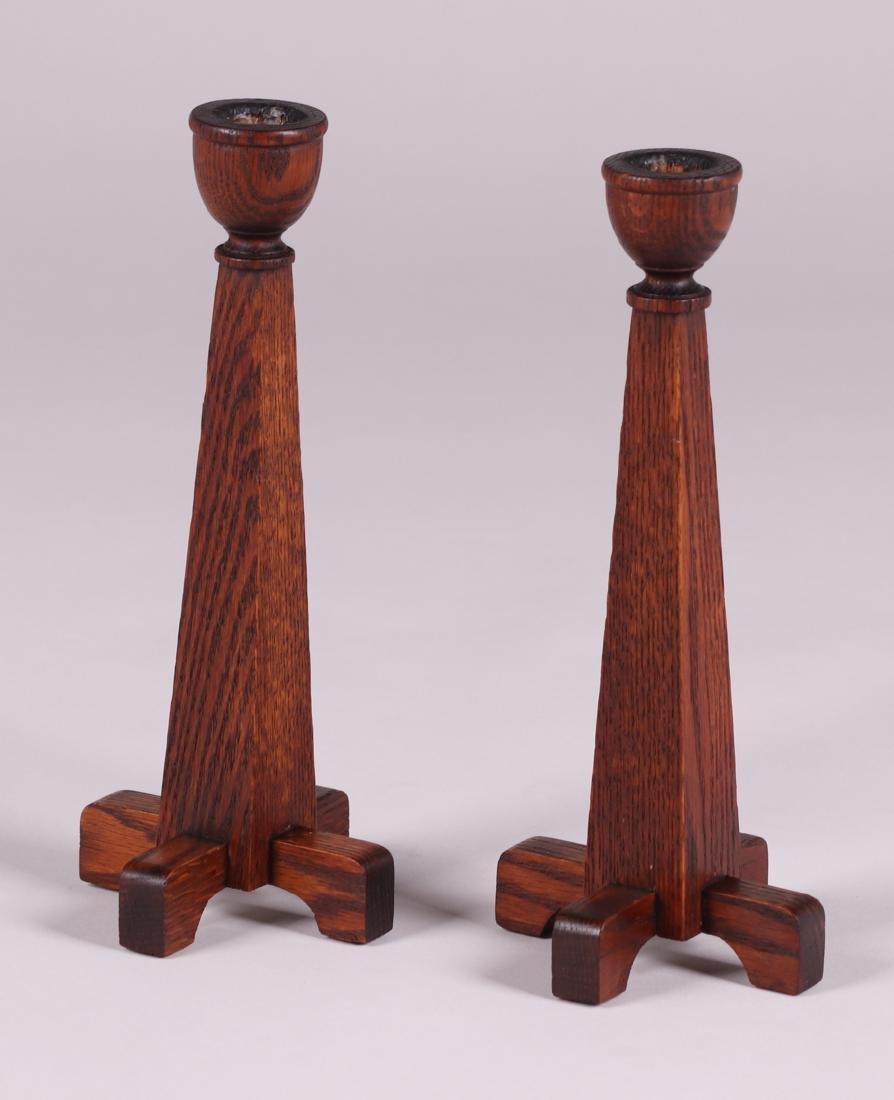 Pair Arts & Crafts Tall Oak Candlesticks c1910