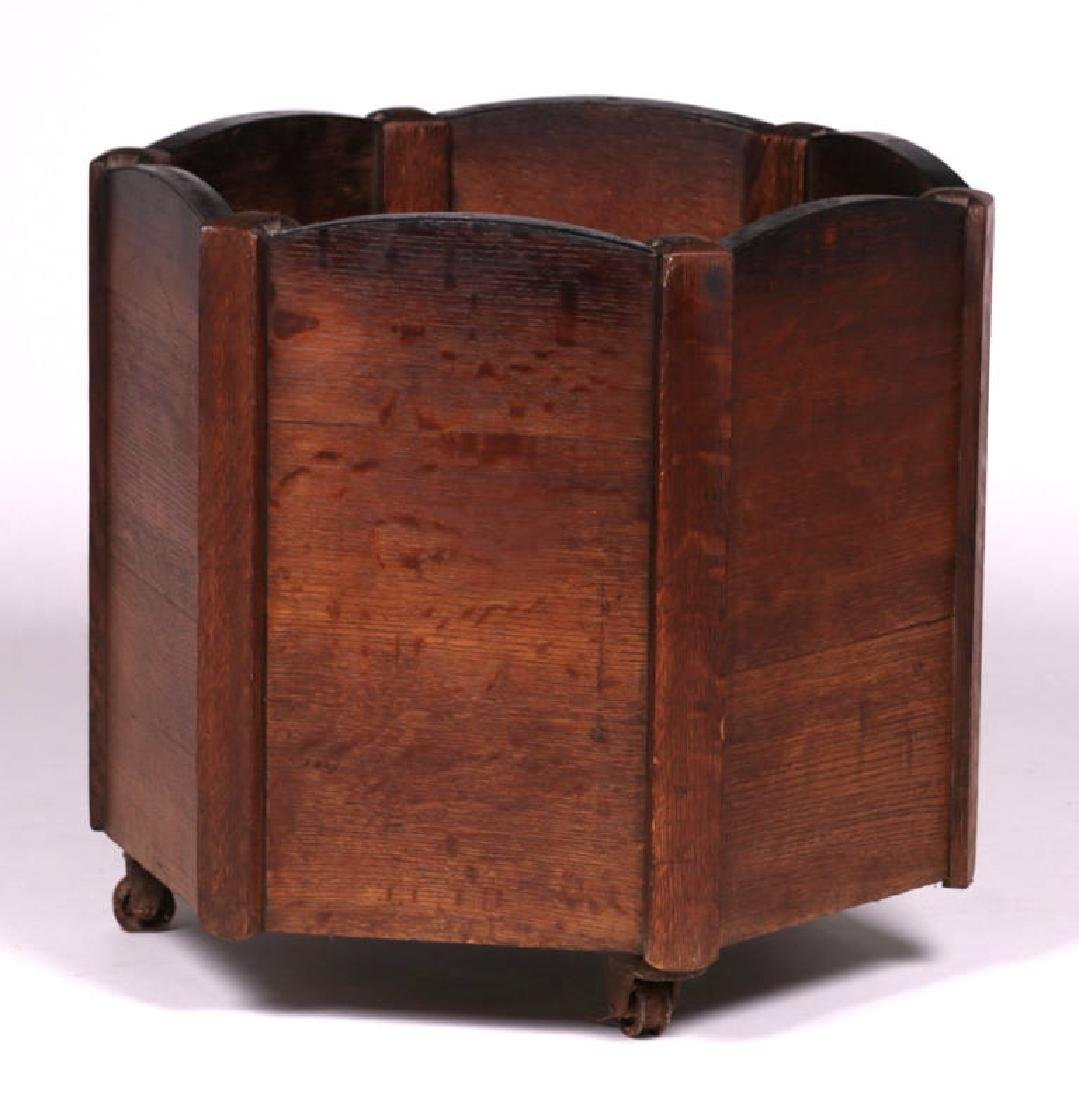 Large Arts & Crafts Oak & Iron Wood Bin Planter c1910