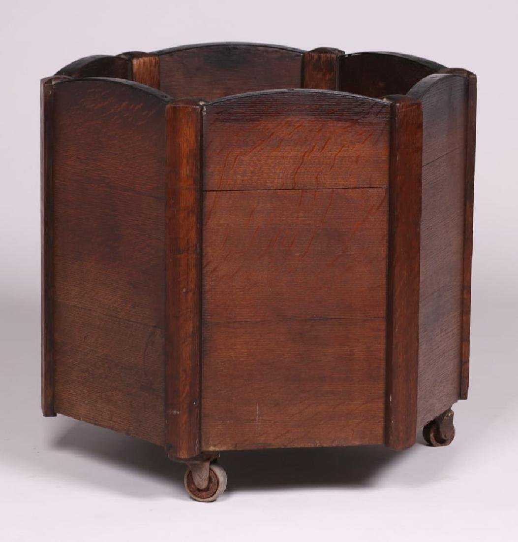 Large Arts & Crafts Oak & Iron Wood Bin Planter c1910 - 2