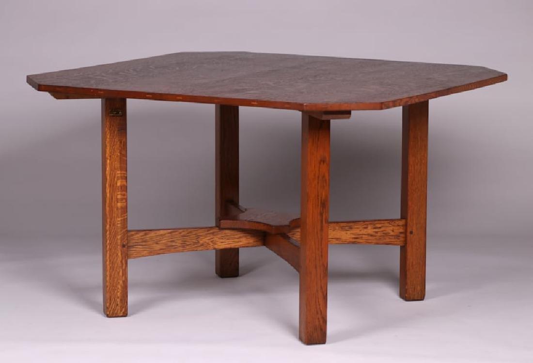 "Rare L&JG Stickley 48"" Square Clip-Corner Dining Table - 2"