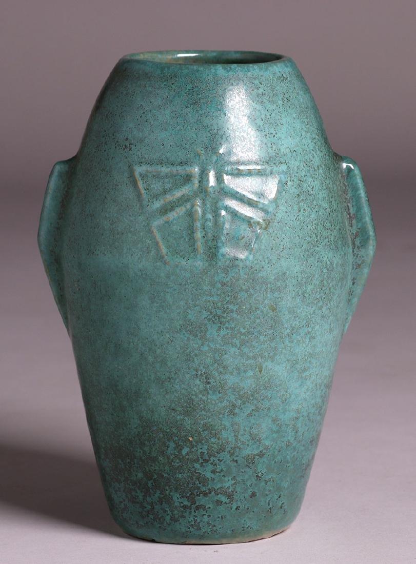 Zanesville Stoneware Dragonfly Vase c1915