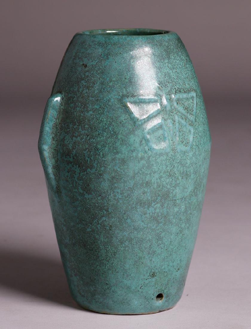 Zanesville Stoneware Dragonfly Vase c1915 - 3