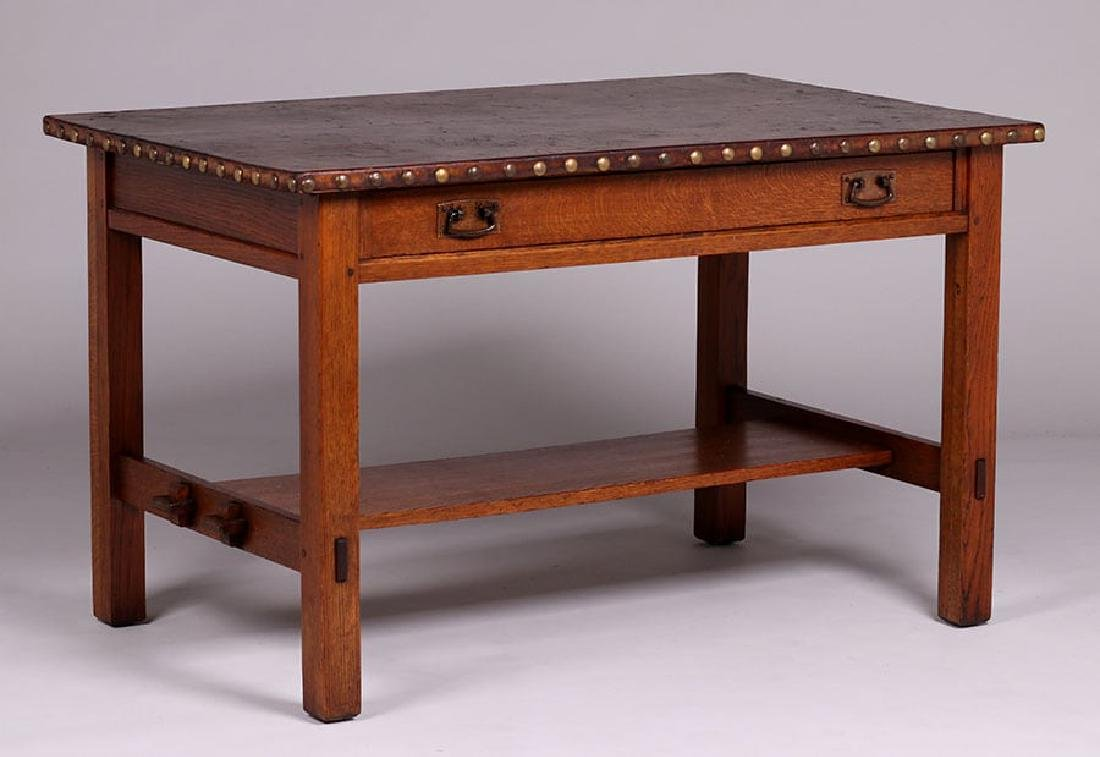 L&JG Stickley Leather-Top Library Table