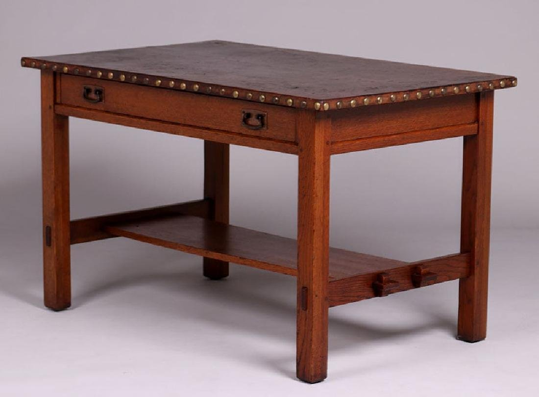 L&JG Stickley Leather-Top Library Table - 2