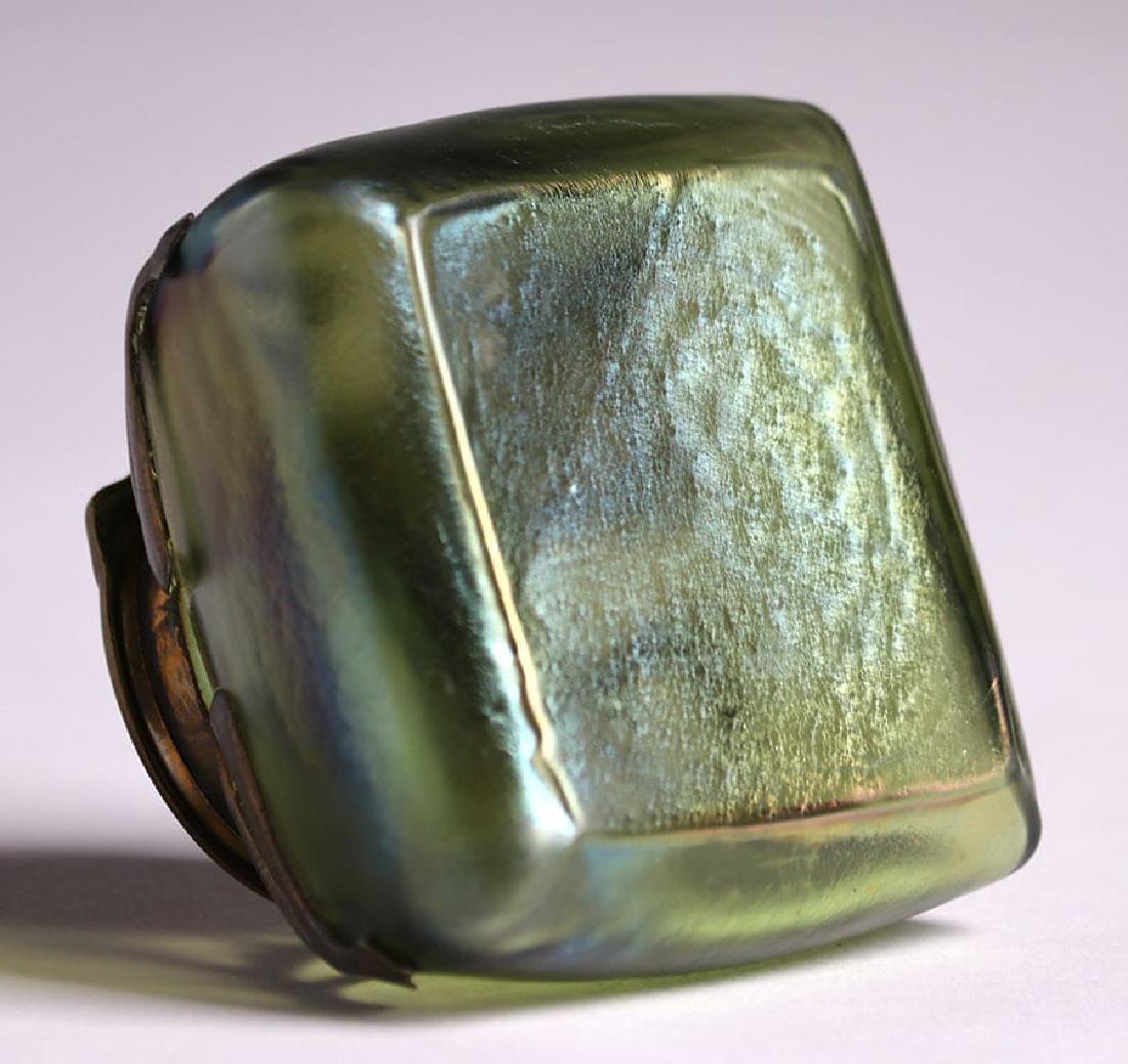 Loetz Green Glass Overlay Inkwell - 6
