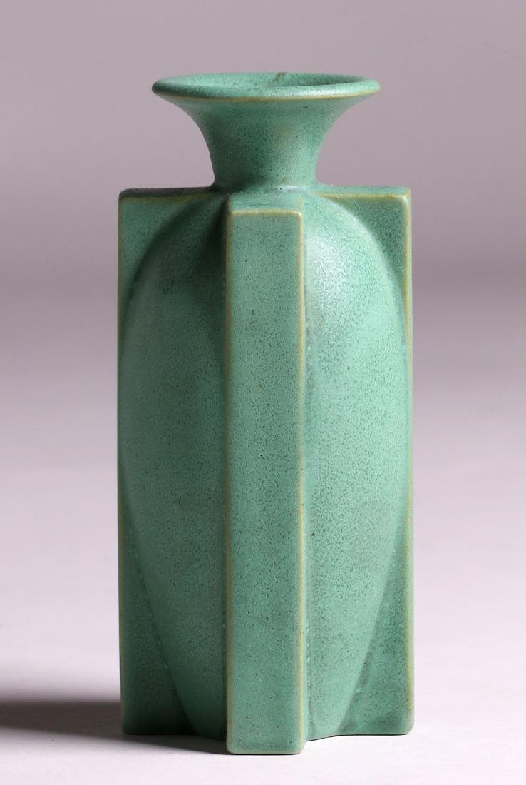 Larger Teco Pottery Four-Buttress Flared Matte Green - 3