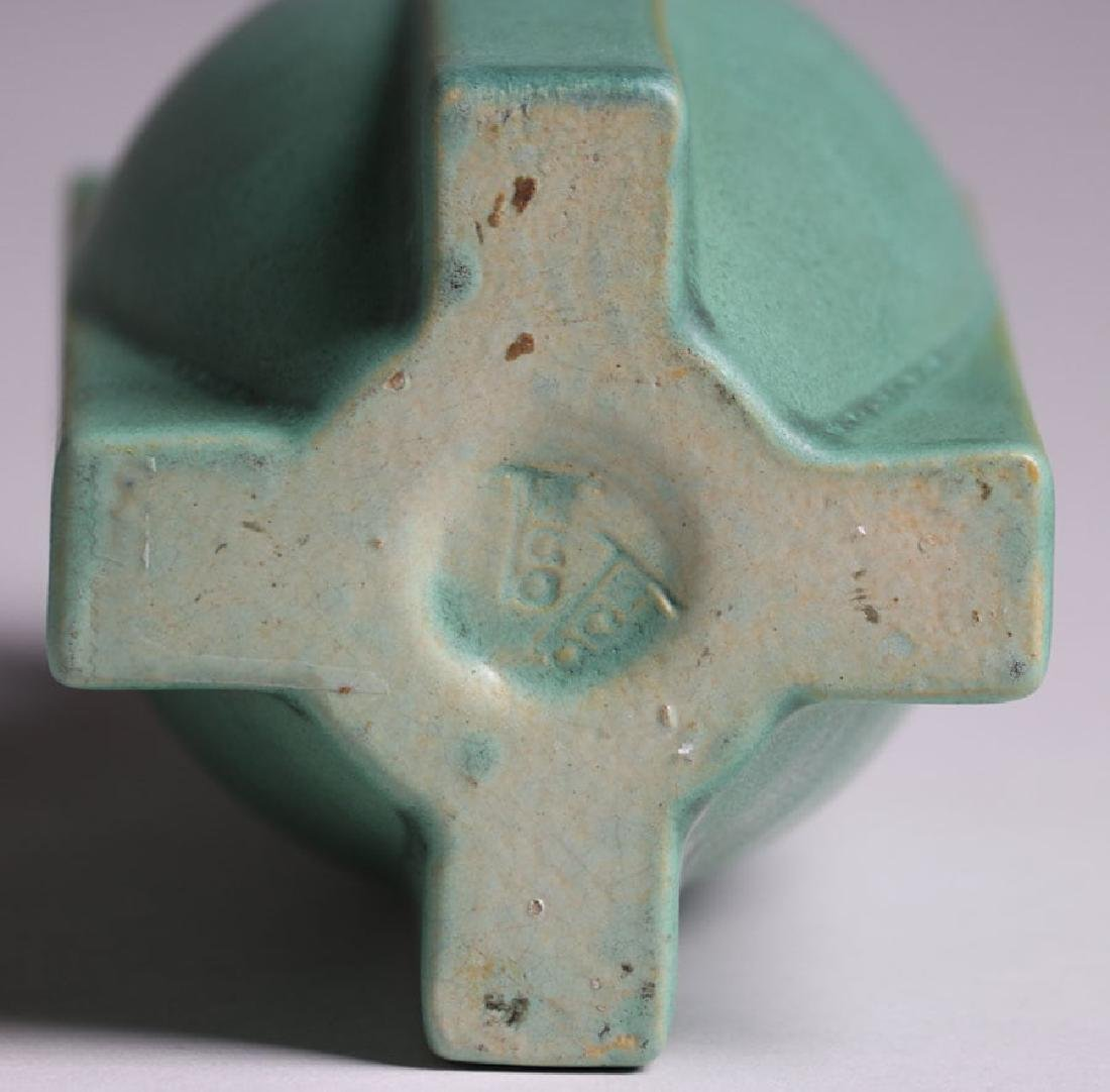Larger Teco Pottery Four-Buttress Flared Matte Green - 5