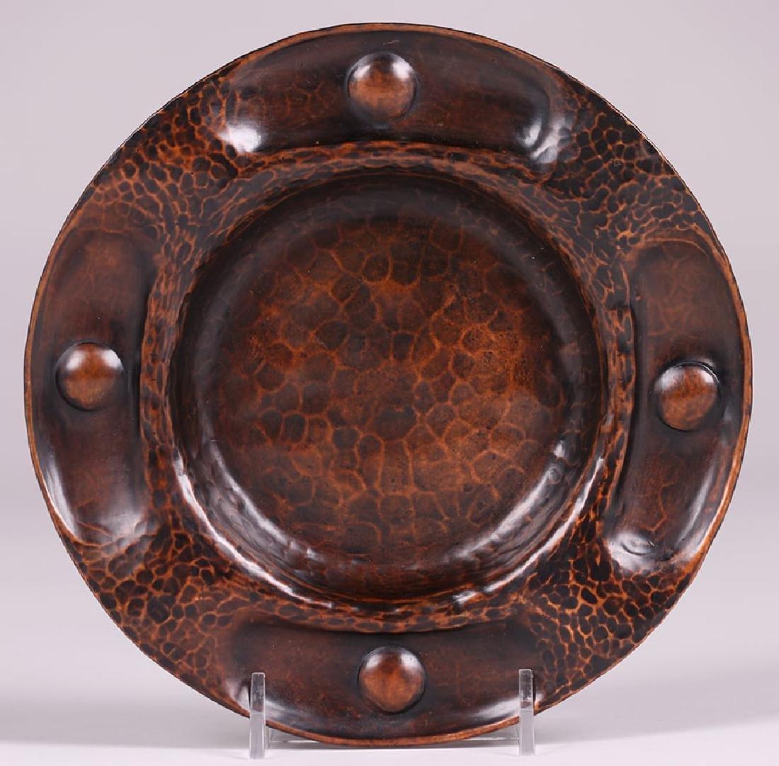 Gustav Stickley Hammered Copper Round Tray