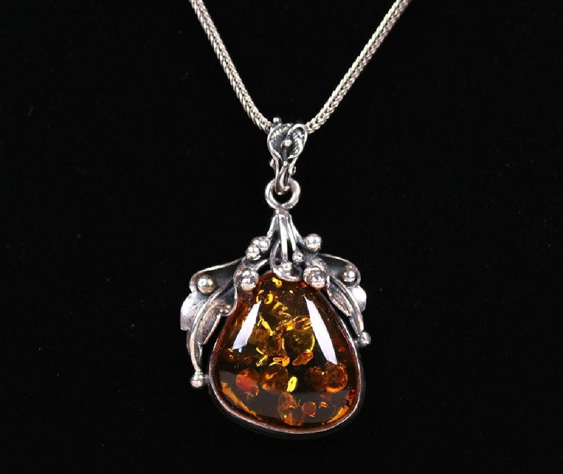 Arts & Crafts Sterling Silver & Amber Pendant Necklace