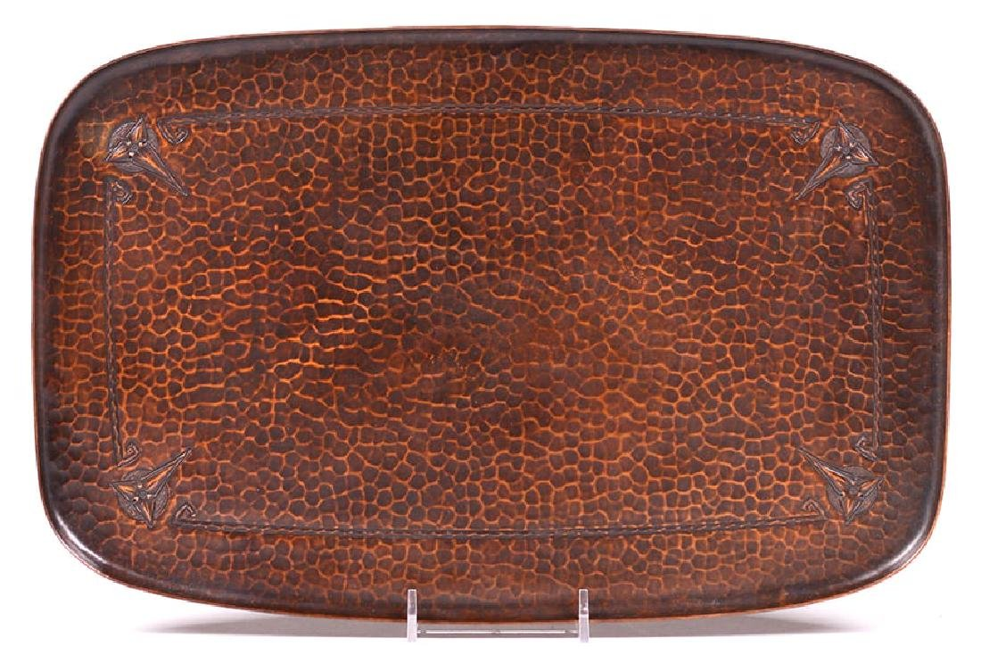 Roycroft Hammered Copper Rectangular Tray