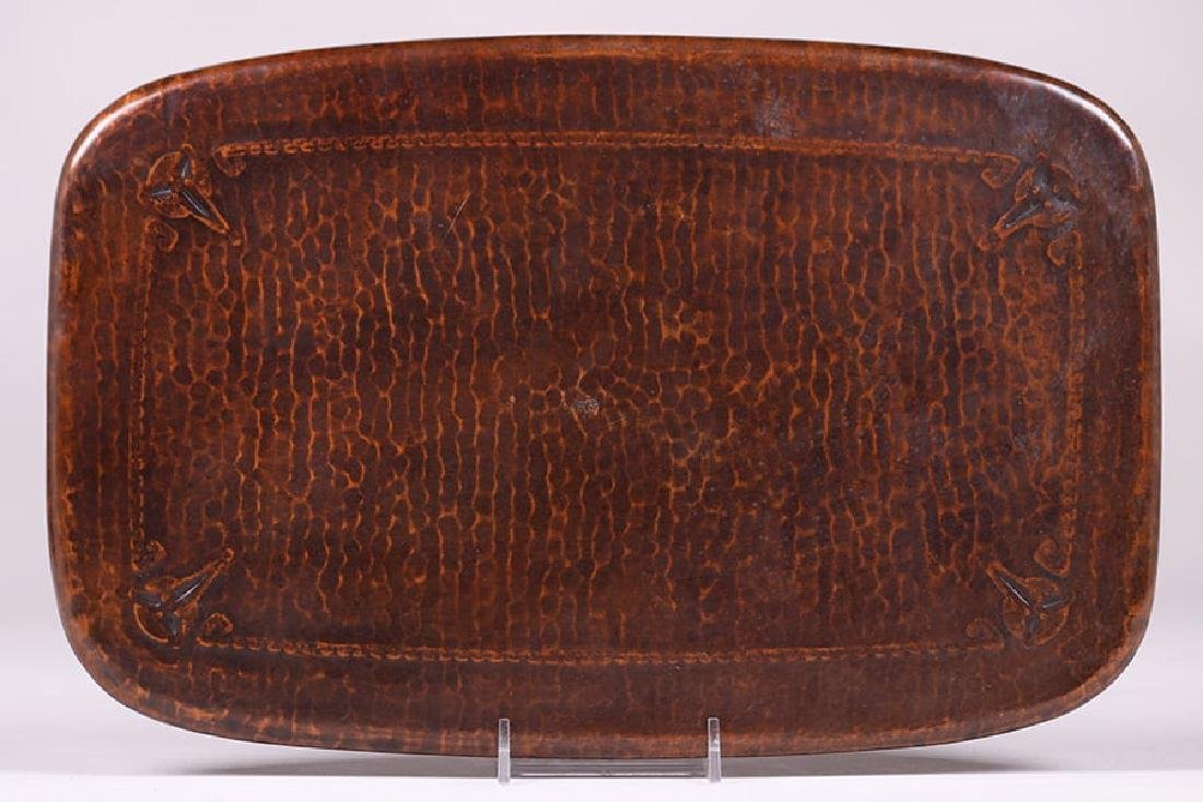 Roycroft Hammered Copper Rectangular Tray - 2
