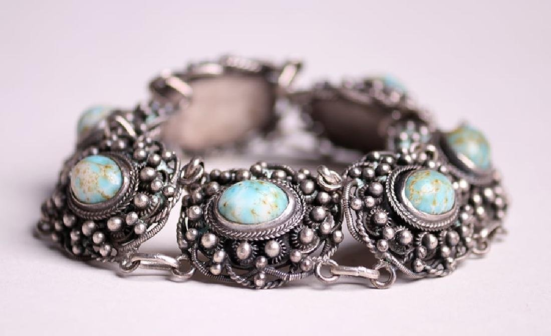 A&C Sterling Silver Chain Link Abalone Bracelet c1910