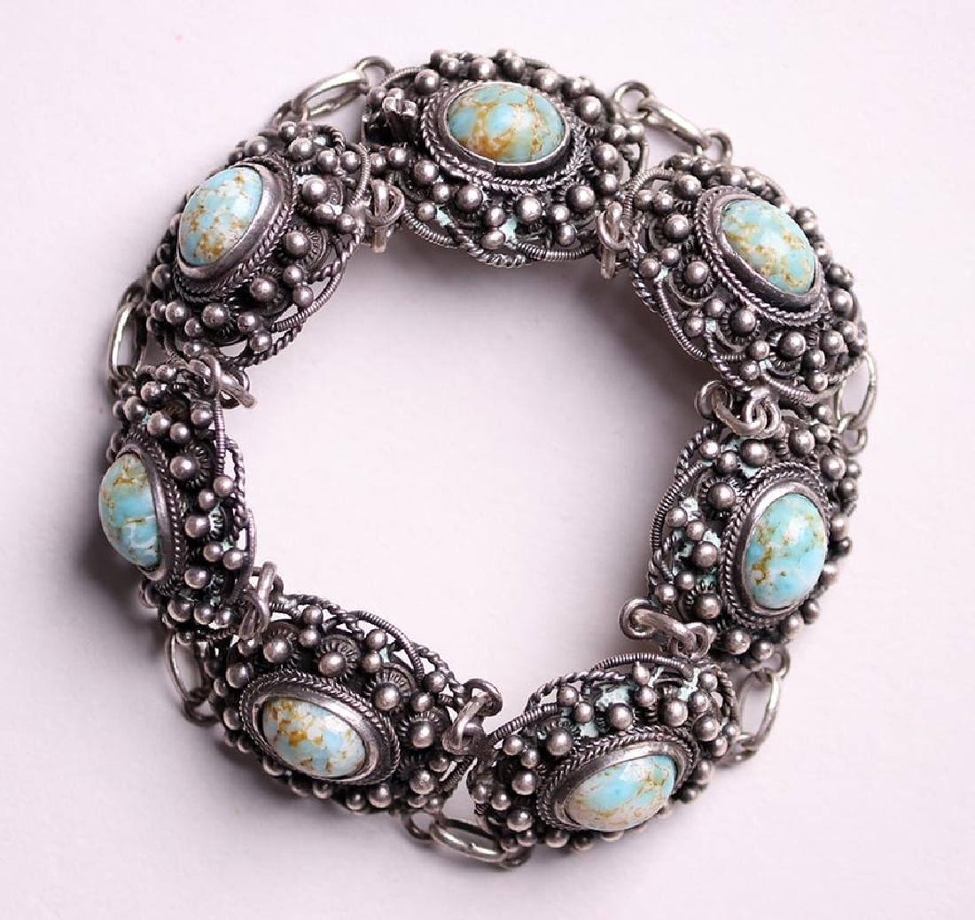A&C Sterling Silver Chain Link Abalone Bracelet c1910 - 2