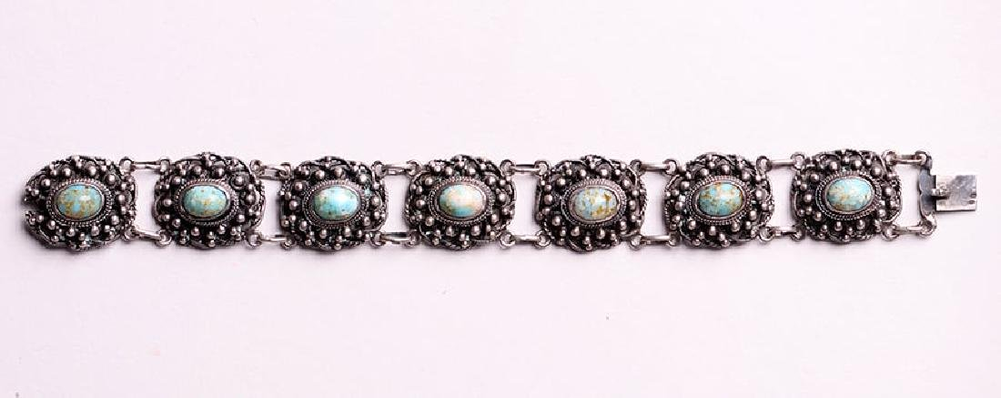 A&C Sterling Silver Chain Link Abalone Bracelet c1910 - 3