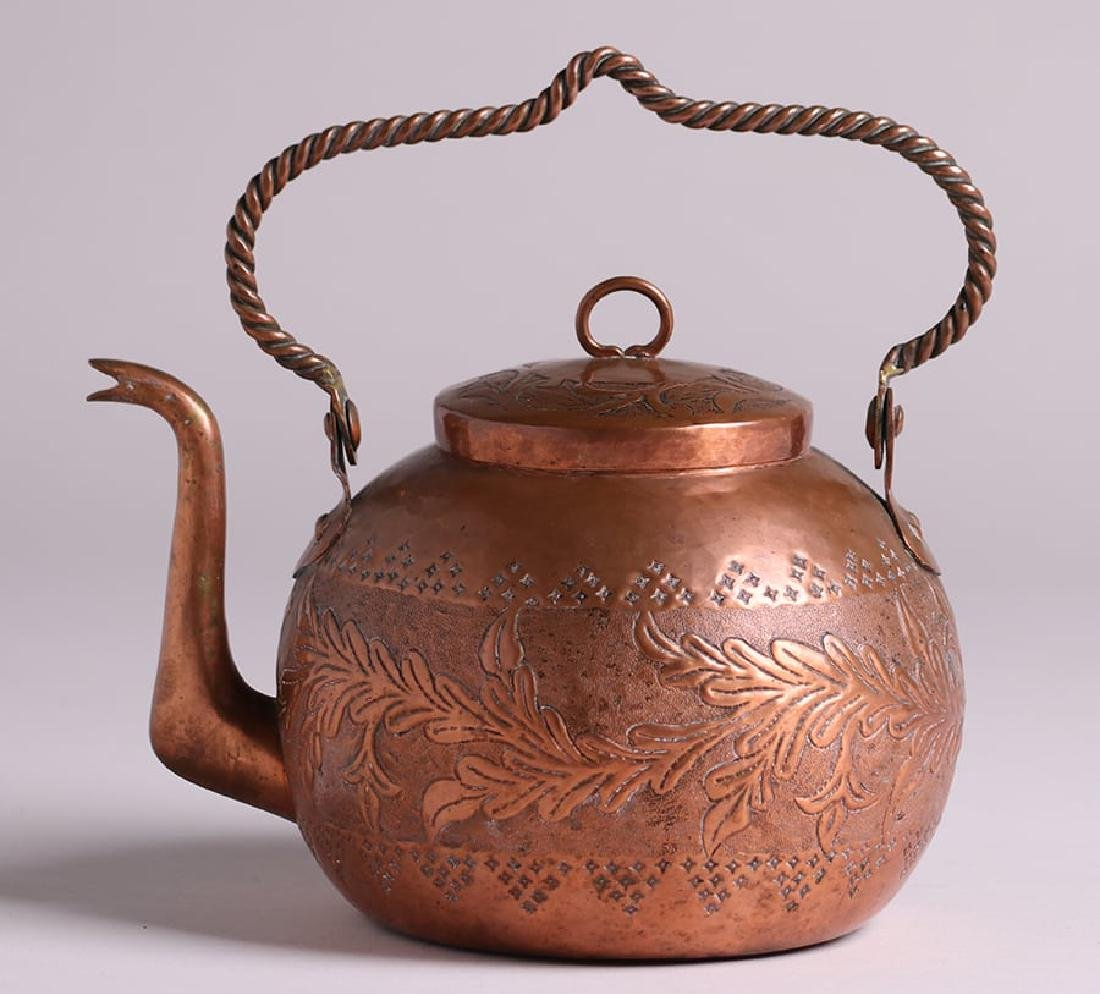 Early Unsigned Dirk van Erp Hammered Copper Teapot