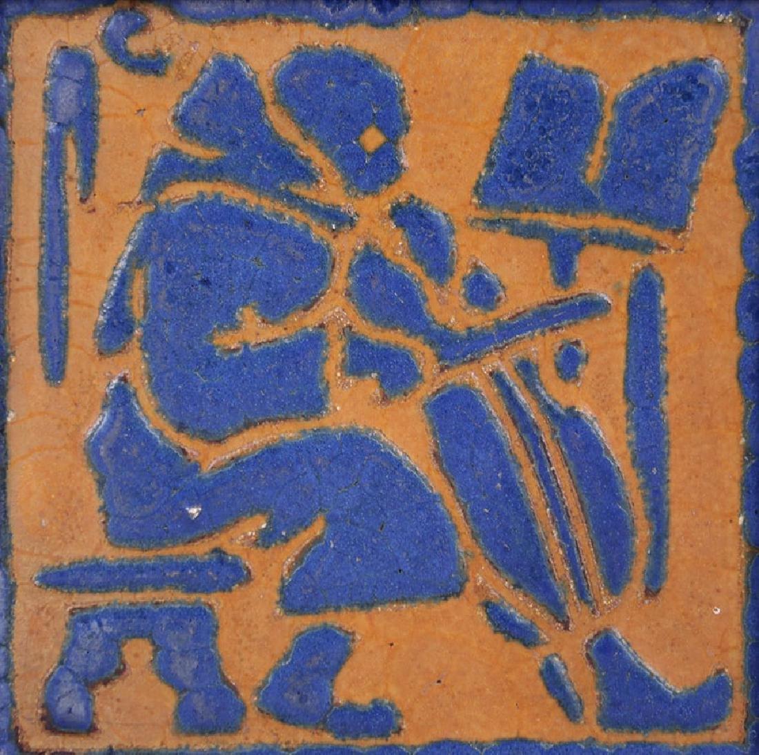 Grueby Faience Matte Blue & Ochre Cello Tile